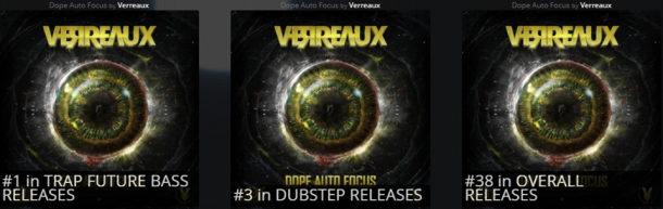 "WoW!! Verreaux new Hybrid release ""Dope Auto Focus"" has hit #1 in Trap/Future Bass, #3 in Dubstep and #38 in Beatport's overall releases in 1 day. We are so proud of you Bradly R. Kruegerand bles"